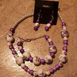 Purple &White Flower Beaded Jewelry Set